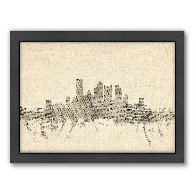 Americanflat Michael Tompsett ''Pittsburgh Sheet Music'' Framed Wall Art, White, Medium