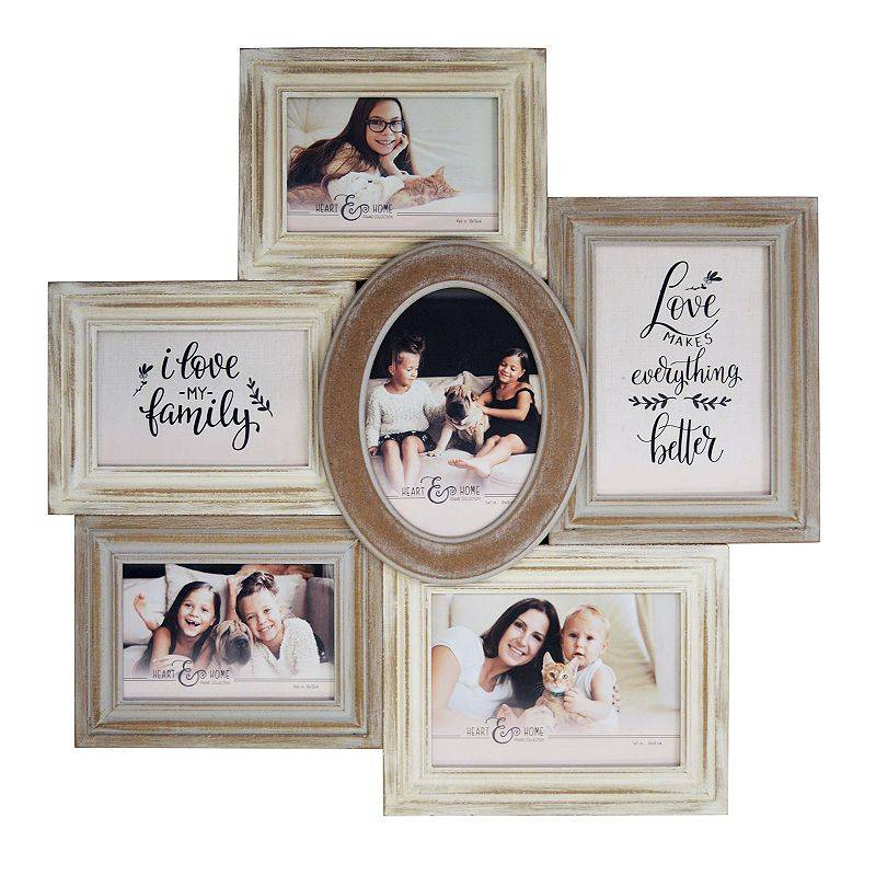 New View Gifts & Accessories New View Rustic Shabby Chic 6-Opening Fashion Collage Frame, 6 OPENING