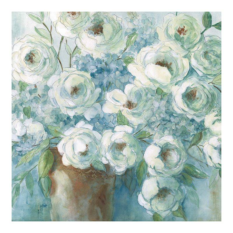 New View Gifts & Accessories New View Gifts Collective Blue Floral Canvas Wall Art, 30 X 30