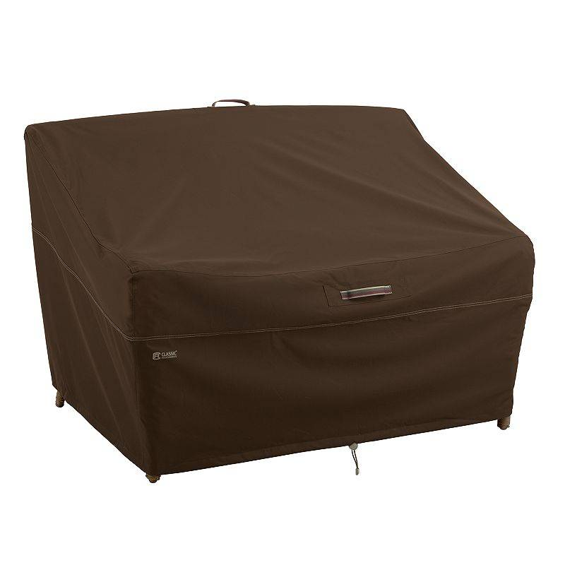 Classic Accessories Madrona X-Large RainProof Deep Seated Patio Loveseat Cover, Dark Brown