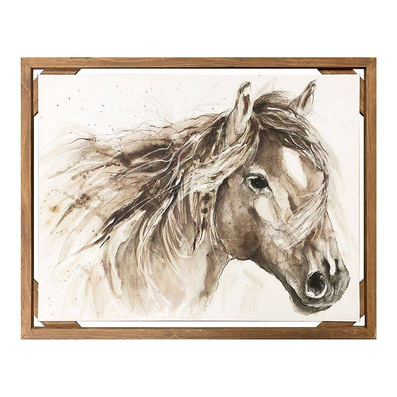 New View Gifts & Accessories Diagonal Wood Framed Horse Art