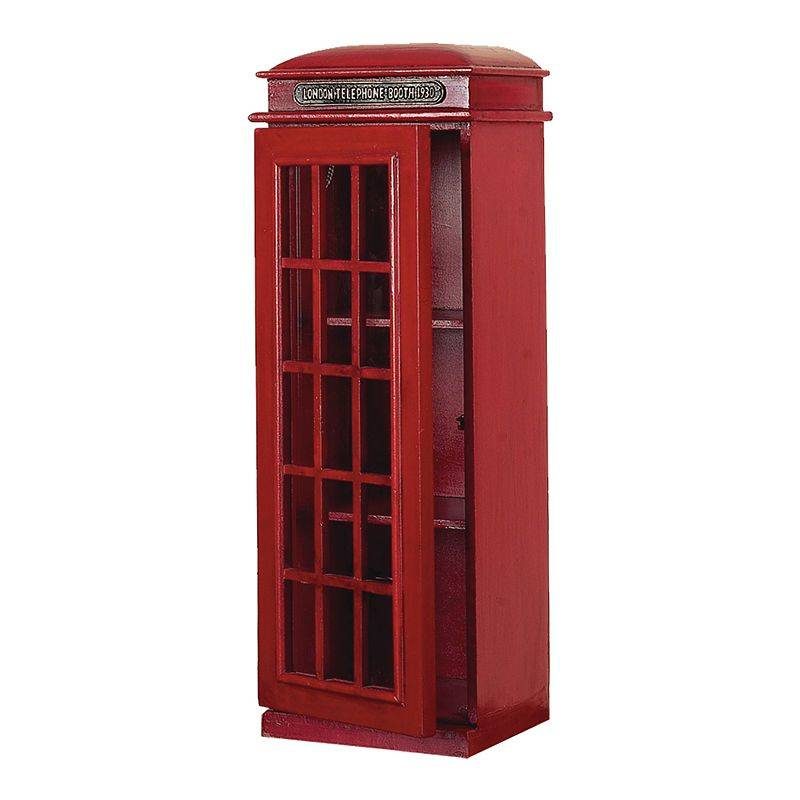 Stella & Eve Traditional Wooden Phone Booth CD Holder, Red, X Large