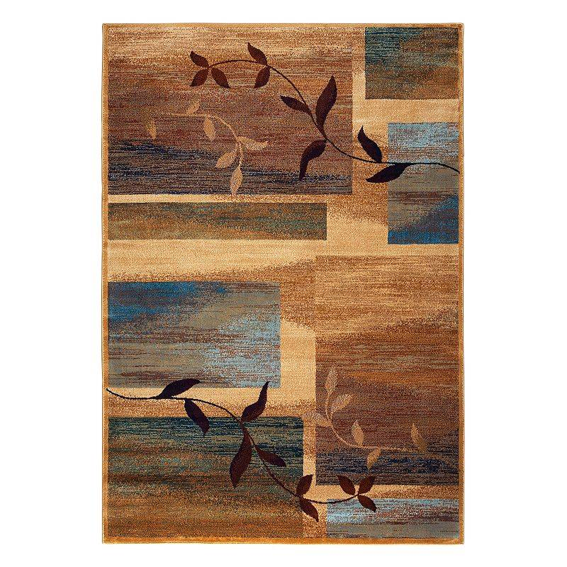 Rizzy Home Bellevue Abstract Leaf Rug, Beig/Green, 3X5 Ft