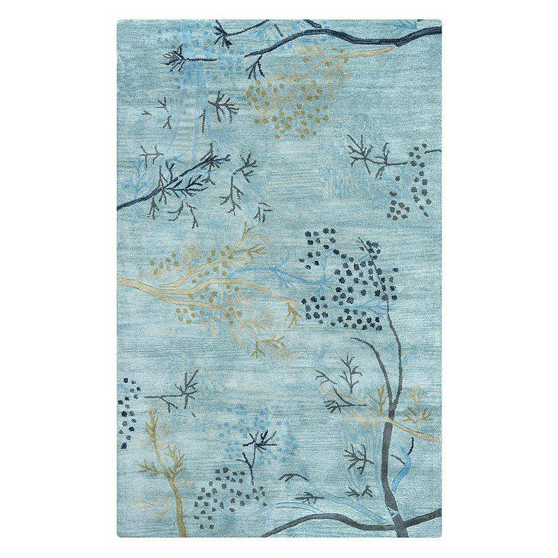 Rizzy Home Craft Floral Branch Wool Rug, Blue, 5X8 Ft