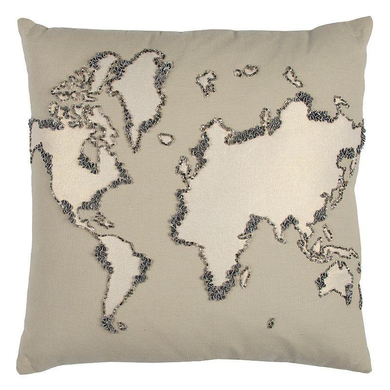 Rizzy Home World Map Throw Pillow, Beig/Green, 20X20
