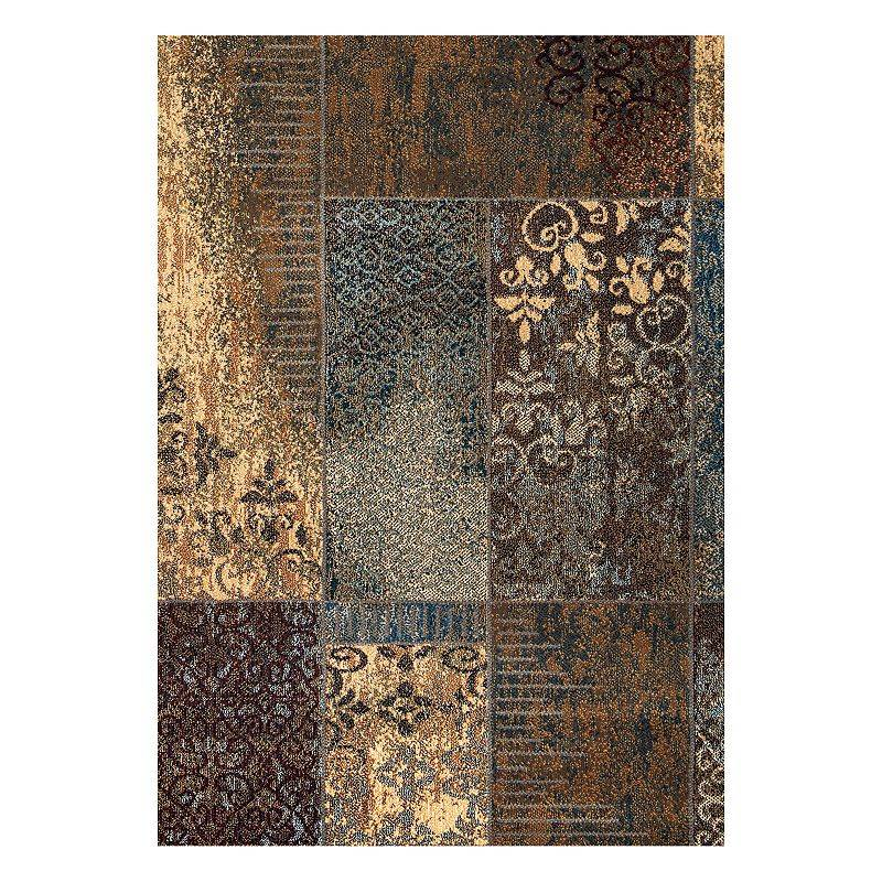 Rizzy Home Bellevue Patchwork Rug, Blue, 6.5X9.5 Ft