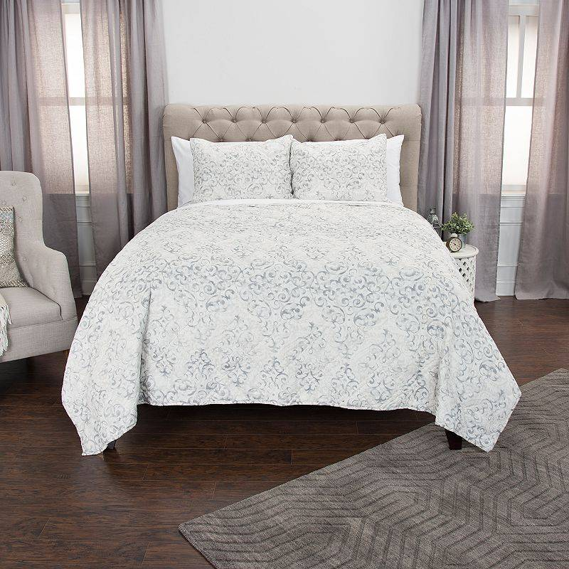 Rizzy Home Maddux Place Astrid Geometric Quilt Set, White, Full/Queen