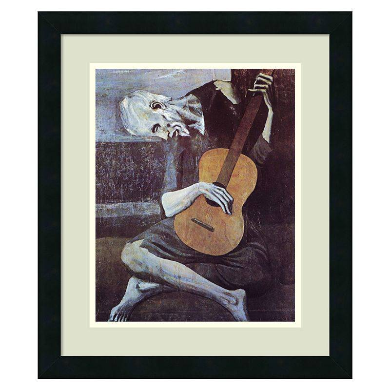 Amanti Art ''The Old Guitarist, 1903'' Framed Wall Art by Pablo Picasso, Black, Medium