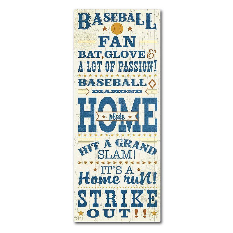 Trademark Fine Art Sport Lover II Baseball Canvas Wall Art, Blue, 8X19