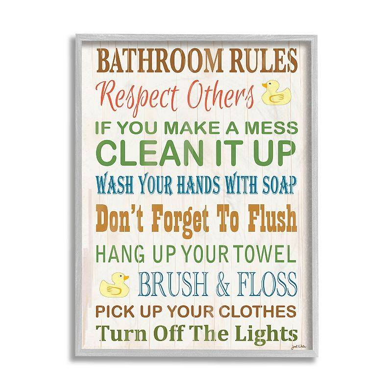 Stupell Home Decor Bathroom Rules Typography Framed Wall Art, 24X30