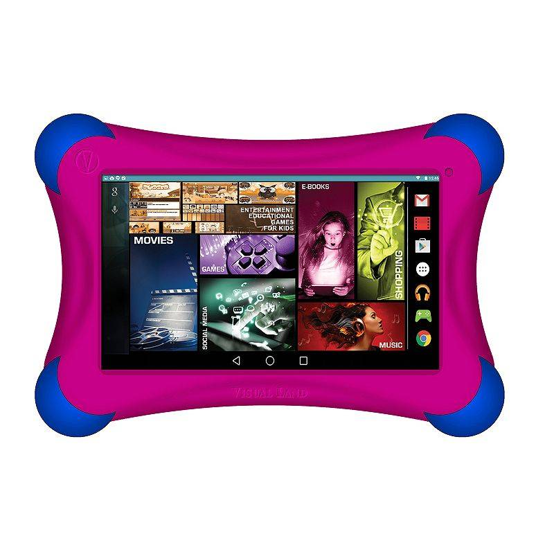 Visual Land Prestige Elite 7Ql Quad Core 16GB 7-Inch Android 5 Lollipop Tablet with Bumper (ME7QLBP16GBPNK), Dark Pink
