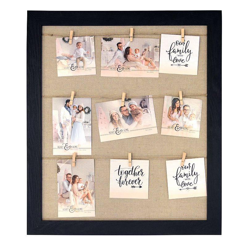 New View Gifts & Accessories New View 9-Opening Clothespin Collage Frame, Black