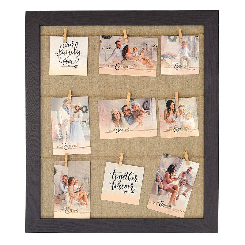 New View Gifts & Accessories New View 9-Opening Clothespin Collage Frame, Brown