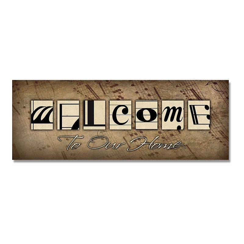 """Personal-Prints Music Notes """"Welcome"""" Block Wall Art, 6.5x18"""