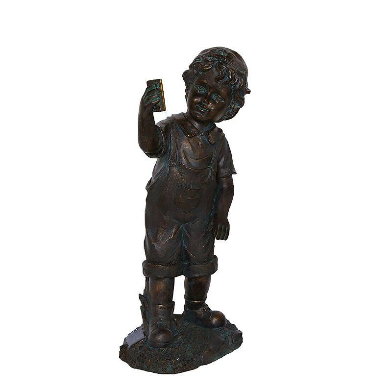 Northlight Boy with Cell Phone Solar Powered LED Lighted Statue, Black
