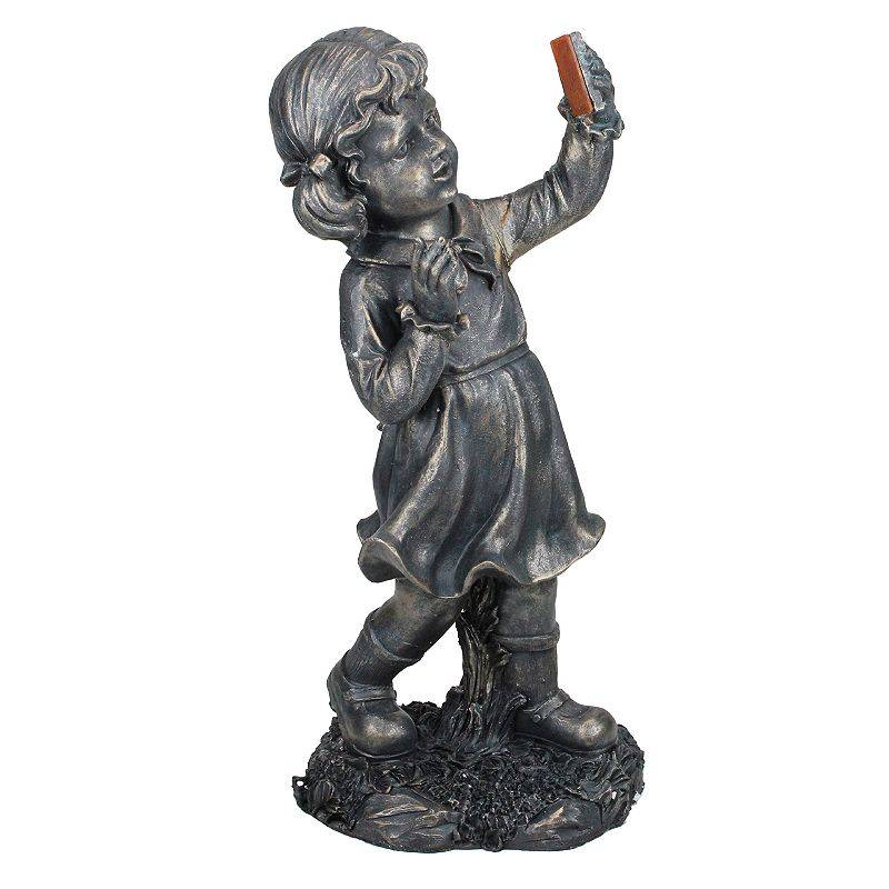 Northlight Girl with Cell Phone Solar Powered LED Lighted Statue