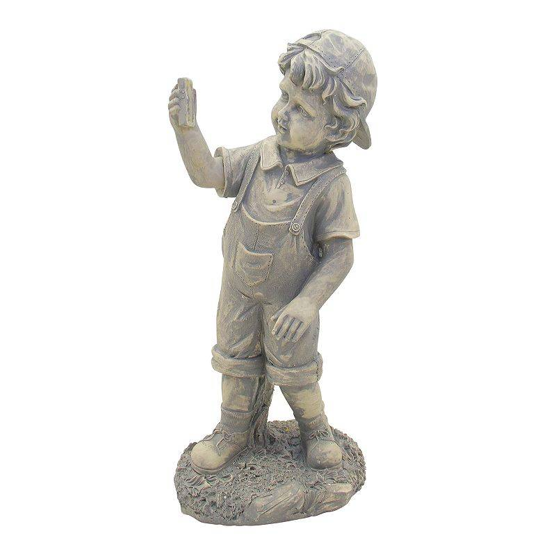 Northlight Boy with Cell Phone Solar Powered LED Lighted Statue - Gray, Grey