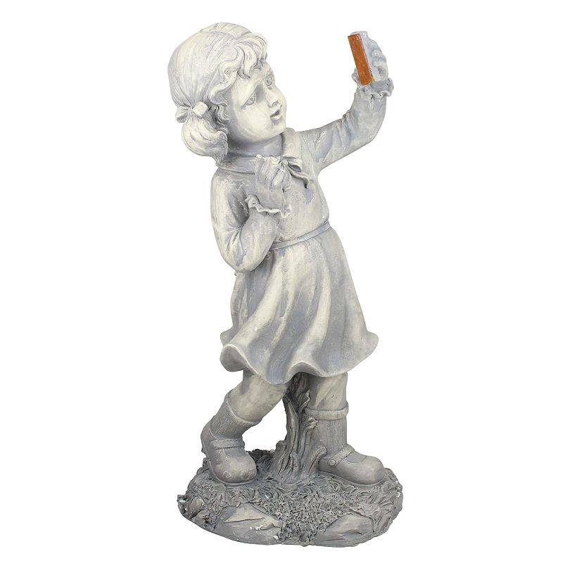 Northlight Girl with Cell Phone Solar Powered LED Lighted Statue - Gray, Grey