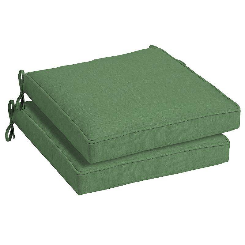 Arden Selections Welted 2-pack Outdoor Dining Seat Cushion Set, Green, 21X21