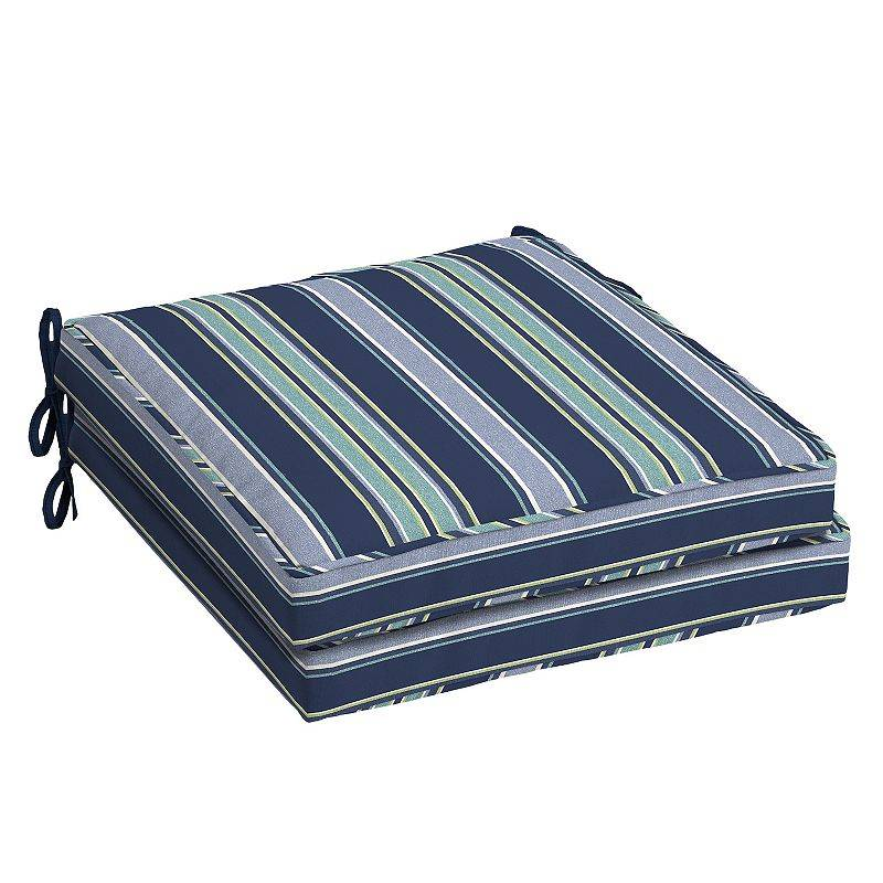 Arden Selections Welted 2-pack Outdoor Dining Seat Cushion Set, Blue, 21X21