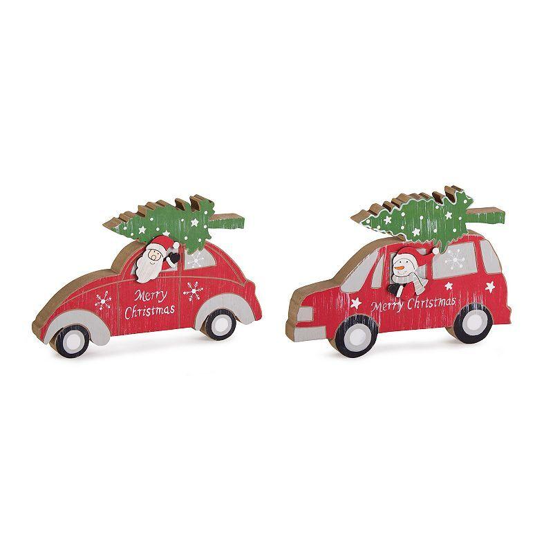 Santa Snowman Car Christmas Table Decor 2-piece Set