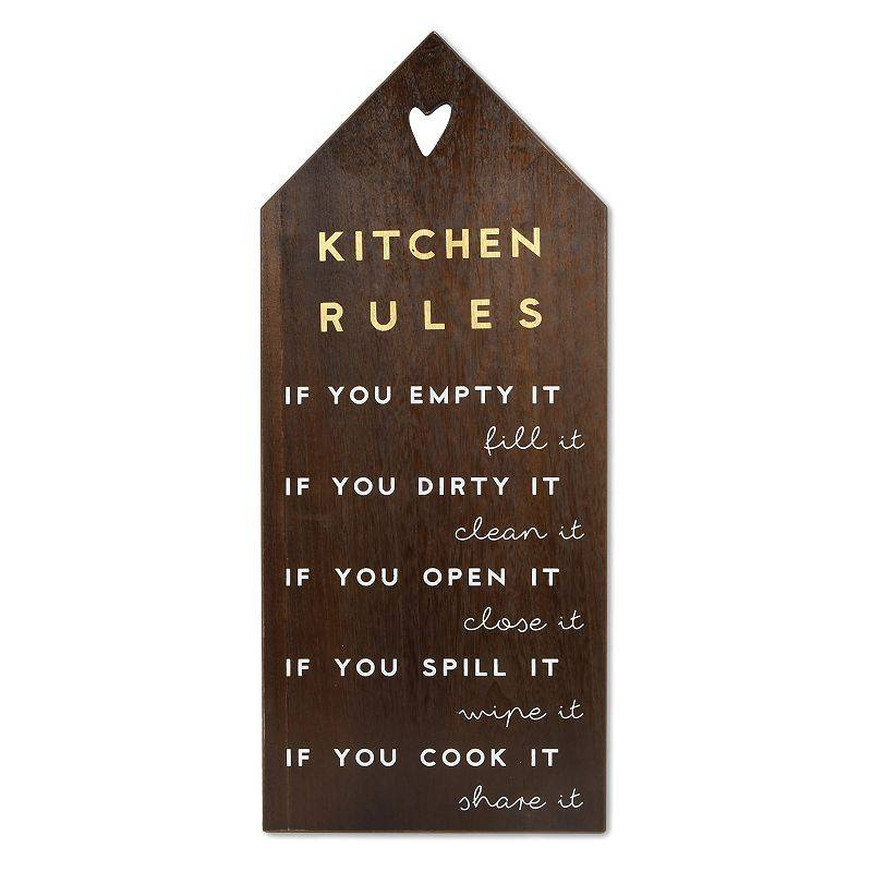 New View Gifts & Accessories Kitchen Rules House Shaped Leaner, Brown