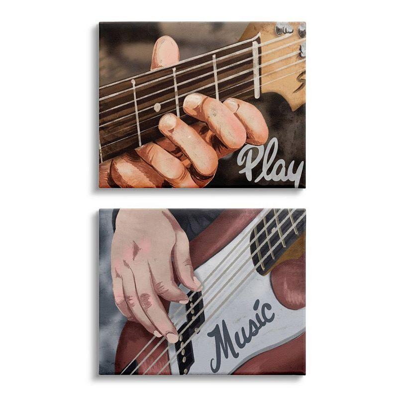 Stupell Home Decor Play Music Phrase Wall Art 2-piece Set, 16X20