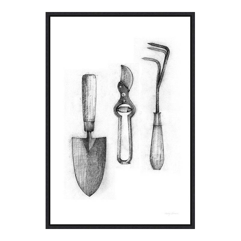 Amanti Art Farm and Garden V Tools Framed Canvas Wall Art, Black, 16X23