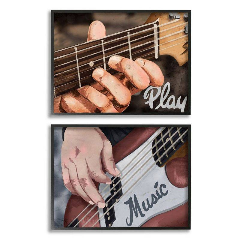 Stupell Home Decor Play Music Framed Wall Art 2-piece Set, 16X20