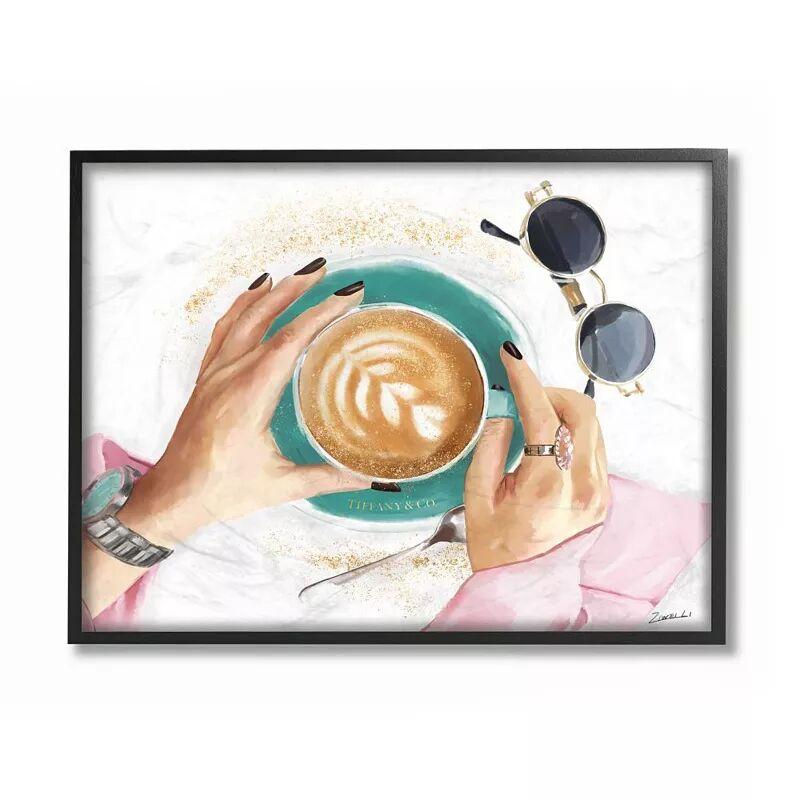 Stupell Home Decor Glam Latte Art Women's Fashion Accessories Coffee Wall Art, White, 24X30