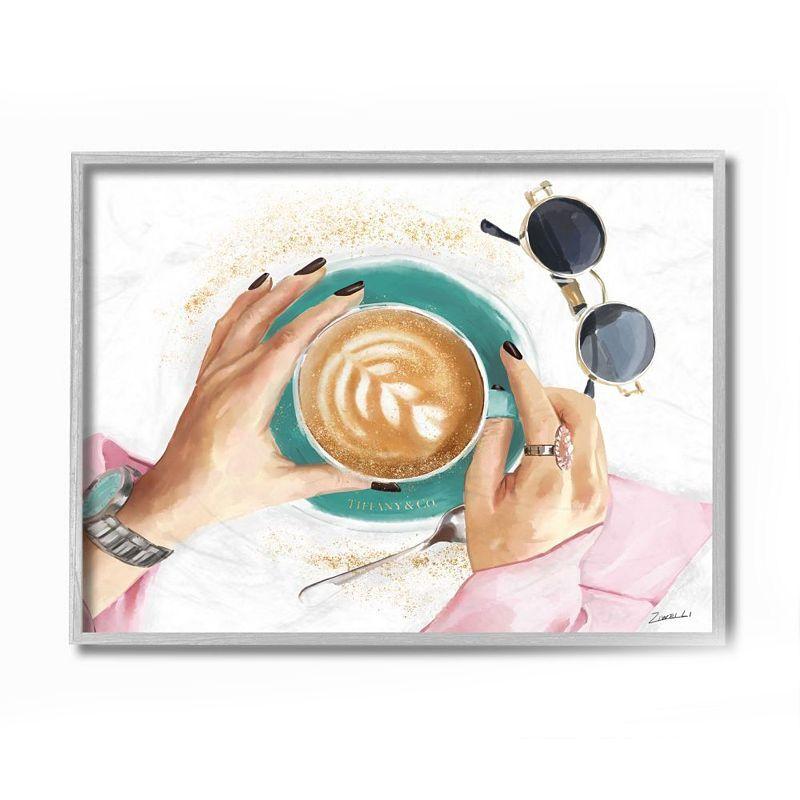 Stupell Home Decor Glam Latte Art Women's Fashion Accessories Coffee Wall Art, White, 11X14