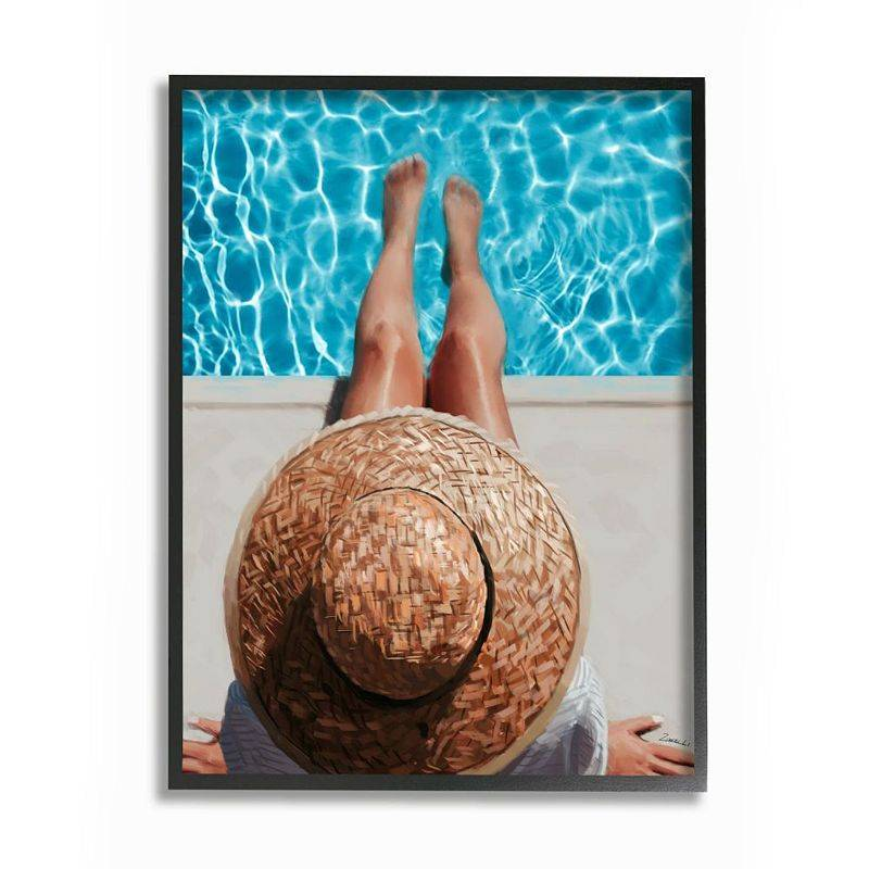Stupell Home Decor Summer Poolside Lounge Women's Fashion Accessories Wall Art, Beig/Green, 24X30