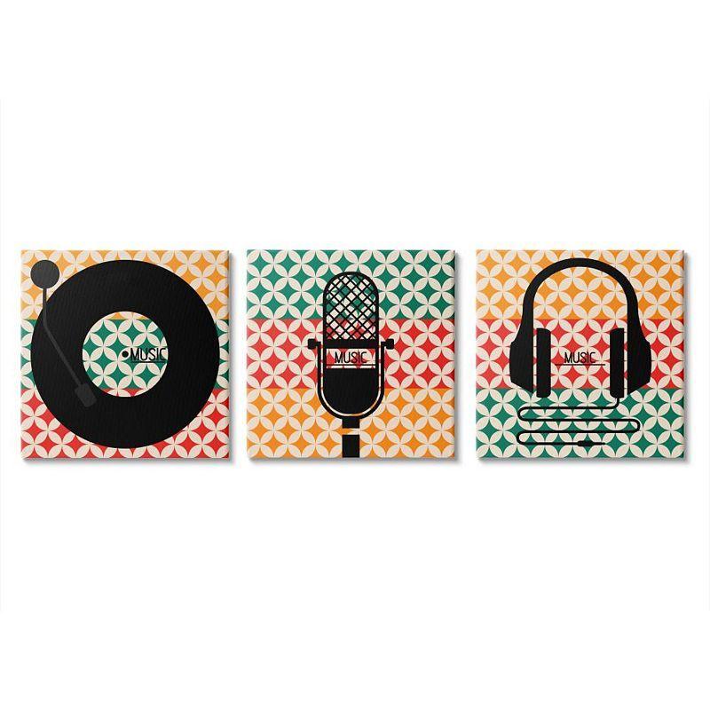 Stupell Home Decor Music Symbols Canvas Wall Art 3-piece Set, 17X17