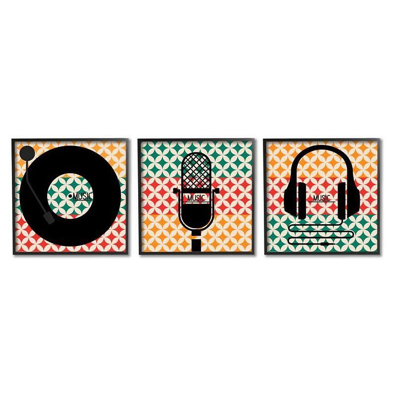 Stupell Home Decor Music Symbols Framed Wall Art 3-piece Set, 12X12