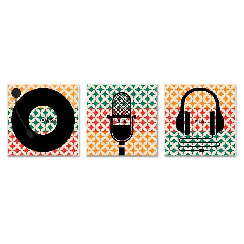 Stupell Home Decor Music Symbols Plaque Wall Art 3-piece Set, 12X12