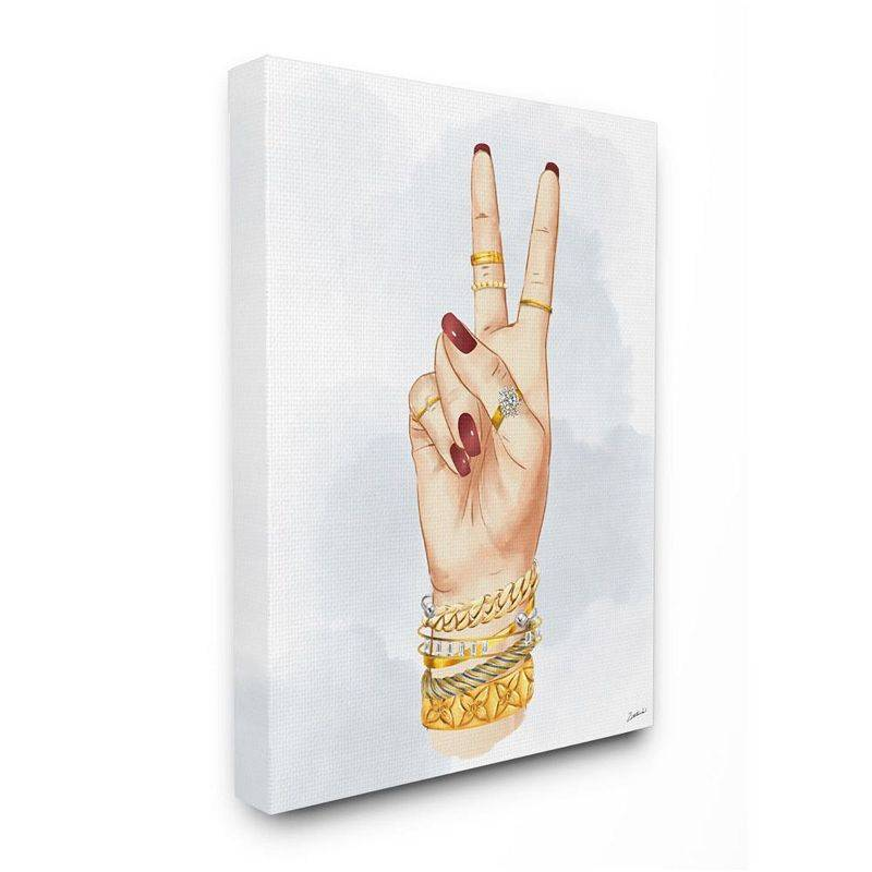 Stupell Home Decor Fashion Forward Peace Hand Sign with Golden Accessories Wall Art, White, 36X48