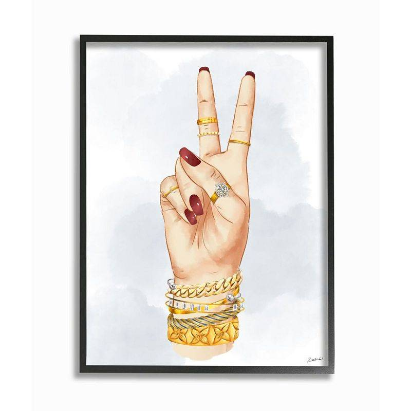 Stupell Home Decor Fashion Forward Peace Hand Sign with Golden Accessories Wall Art, White, 11X14
