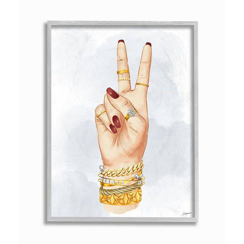 Stupell Home Decor Fashion Forward Peace Hand Sign with Golden Accessories Wall Art, White, 16X20