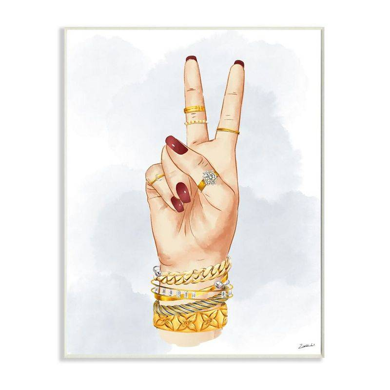 Stupell Home Decor Fashion Forward Peace Hand Sign with Golden Accessories Wall Art, White, 13X19