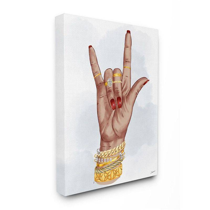 Stupell Home Decor I love You Hand Pose Fashion Inspired Accessories Wall Art, White, 16X20