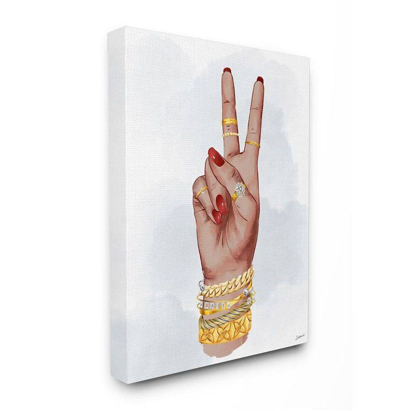 Stupell Home Decor Peace Hand Pose with Chic Fashion Accessories Wall Art, White, 36X48