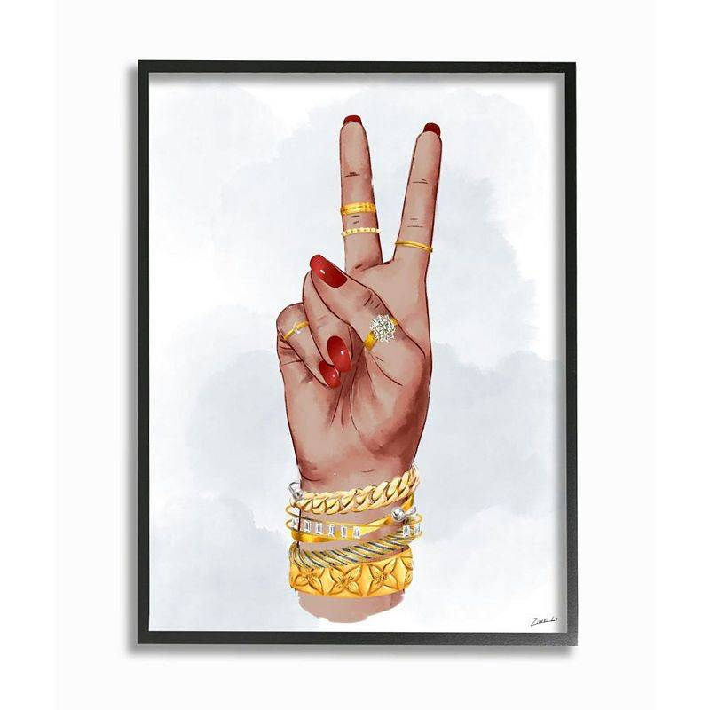 Stupell Home Decor Peace Hand Pose with Chic Fashion Accessories Wall Art, White, 24X30