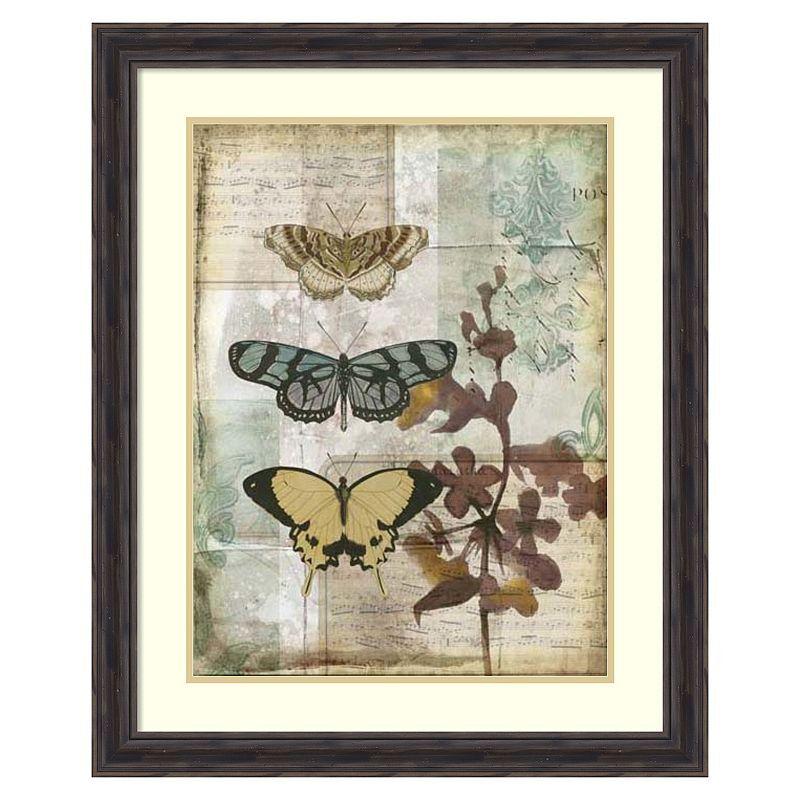 Amanti Art ''Music Box Butterflies I'' Framed Wall Art, Brown, Medium