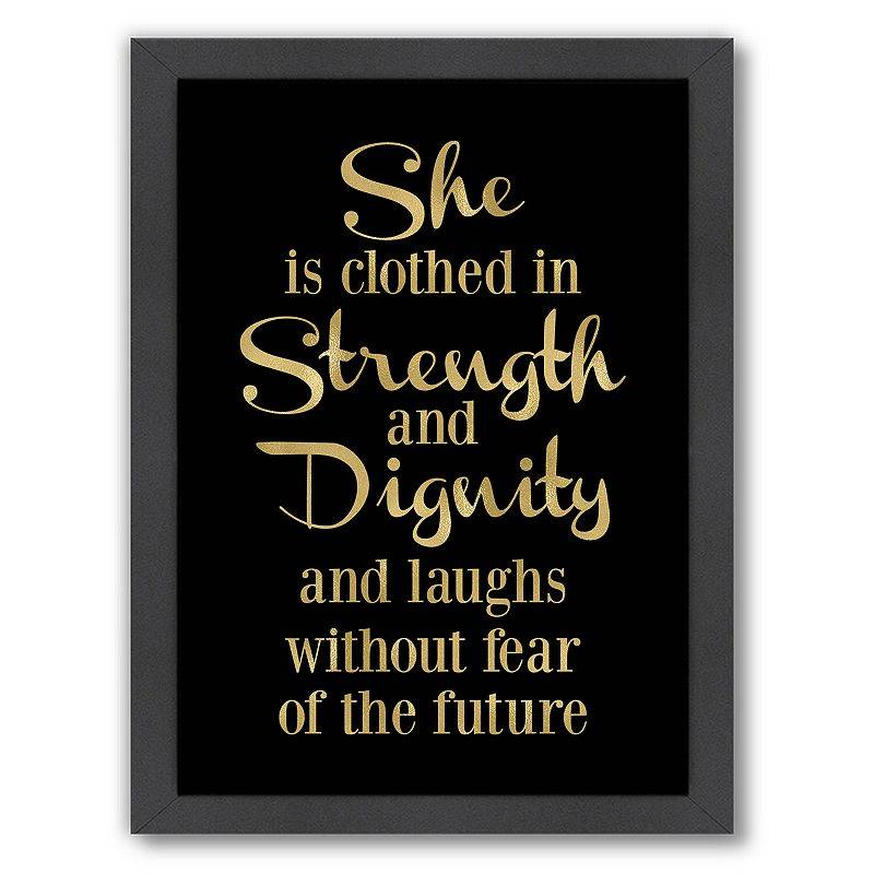 """Americanflat """"She Is Clothes In Strength"""" Framed Wall Art, Black, Medium"""