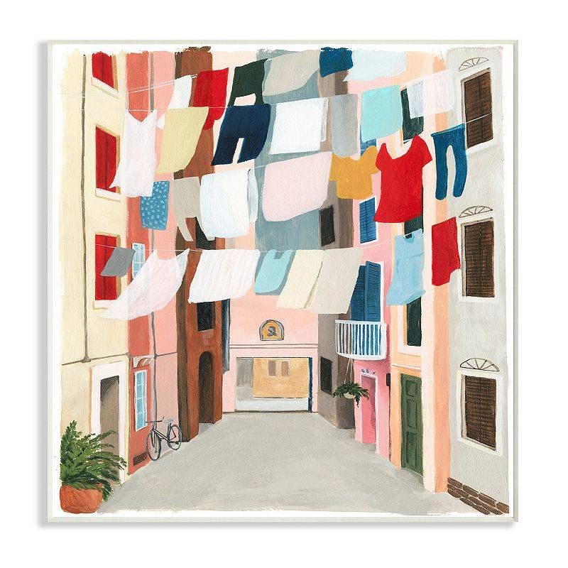 Stupell Home Decor Colorful Clothes Line Between Apartments Wall Art, 10X15