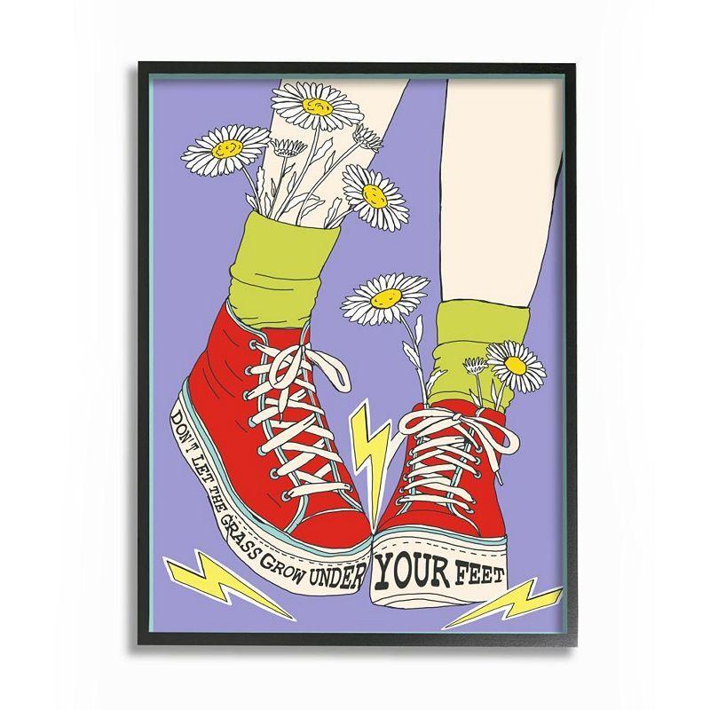Stupell Home Decor Don't Let Grass Grow Shoes Framed Wall Art, Purple, 24X30