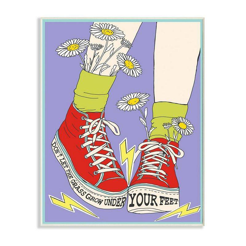 Stupell Home Decor Don't Let Grass Grow Shoes Plaque Wall Art, Purple, 13X19