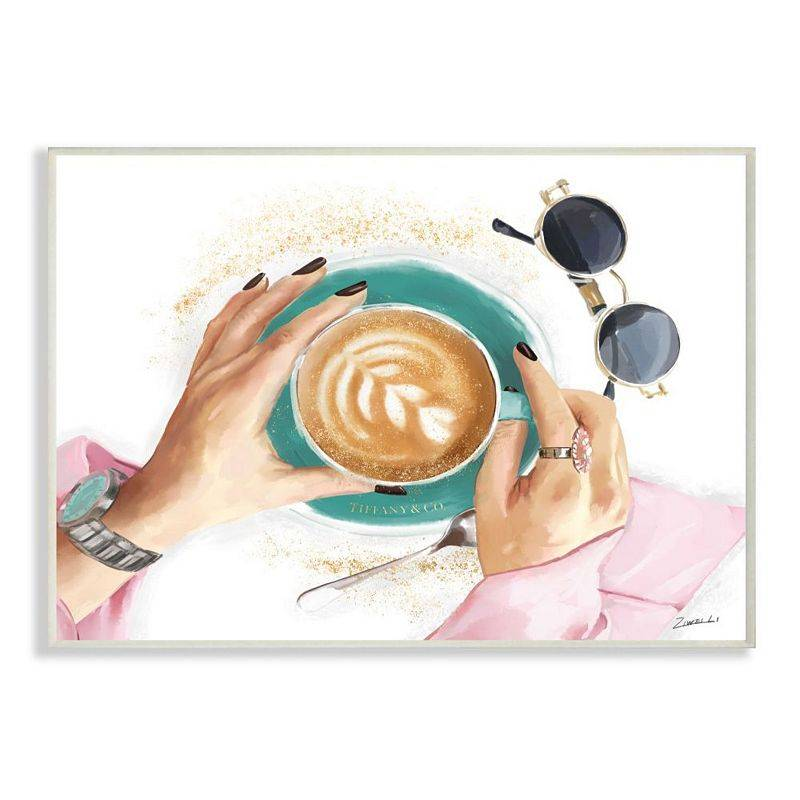 Stupell Home Decor Glam Latte Art Women's Fashion Accessories Coffee Wall Art, White, 13X19