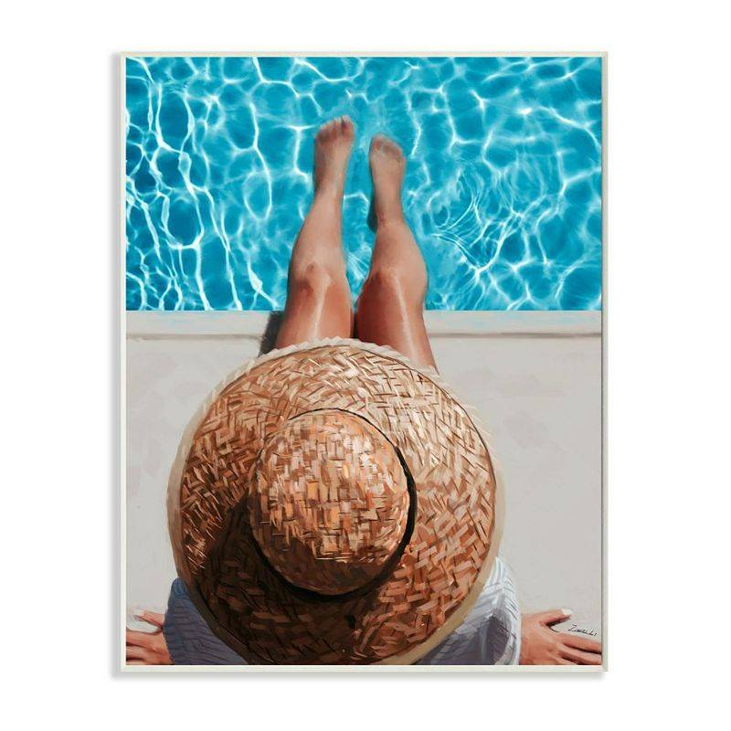 Stupell Home Decor Summer Poolside Lounge Women's Fashion Accessories Wall Art, Beig/Green, 13X19