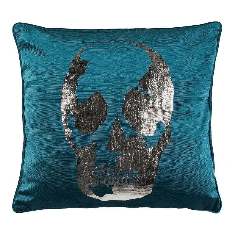Safavieh Romey Skull Throw Pillow, Blue, 20X20